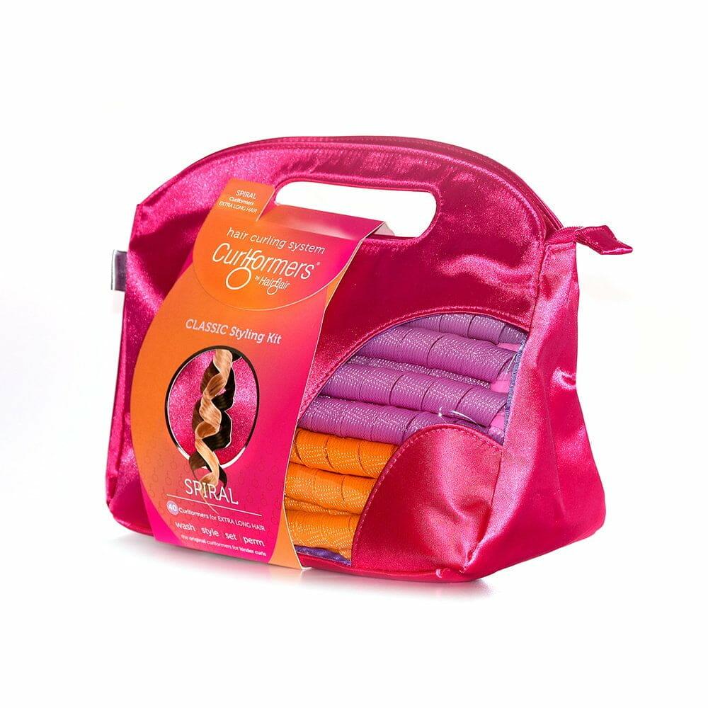spiral curler satin vanity bag